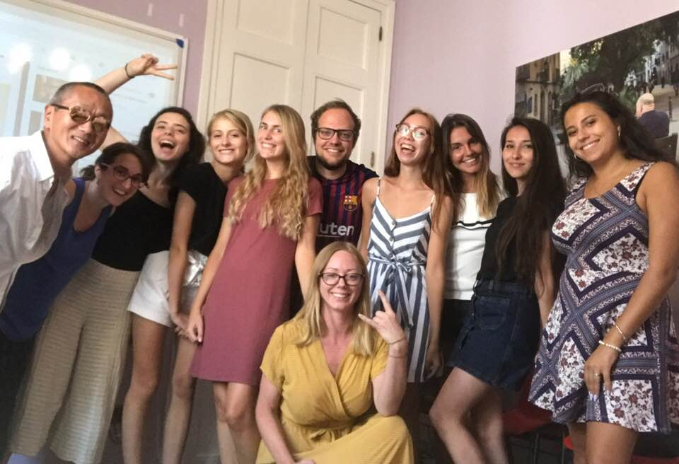 Met medestudenten in de Spaanse taalschool