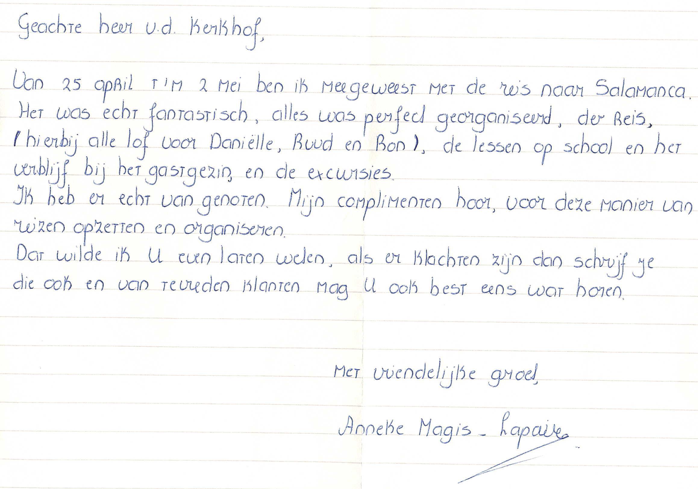 voorbeeldbrief reservering Spaans leren in Spanje voorbeeldbrief reservering